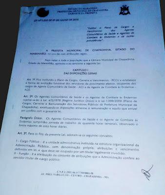 Lei 1.235 - PCCV dos Agentes Comunitários de Saúde de Chapadinha