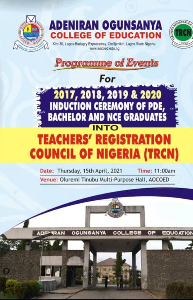 AOCOED TRCN Induction Ceremony Programme of Events 2020