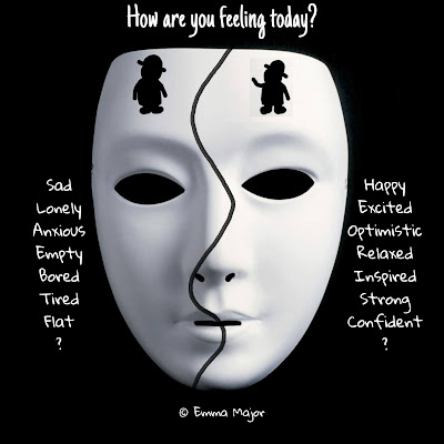 How are you feeling today? An image of a mask divided in two with a sad little guy on the left and a happy little guy on the right