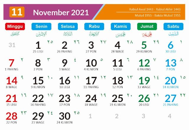 Kalender Bulan November 2021 dan Hari Peringatannya