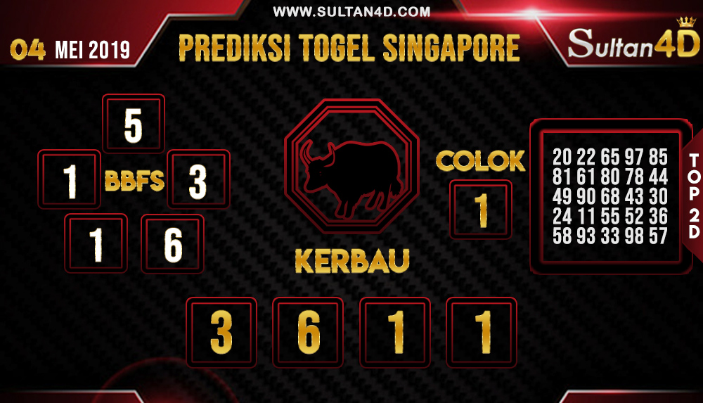 PREDIKSI TOGEL SINGAPORE SULTAN4D 04 MEI 2019