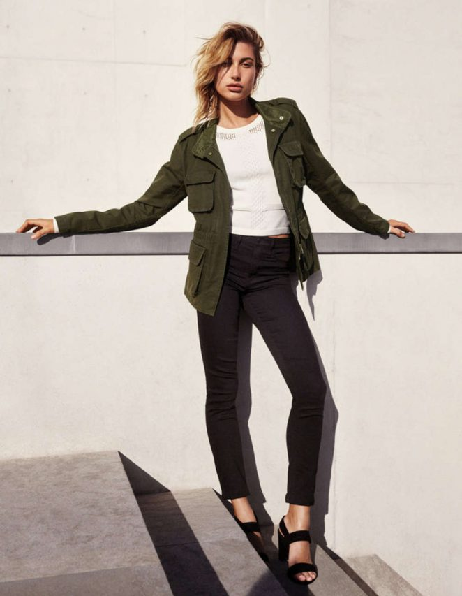 H&M Utility Jacket, Textured-Knit Sweater, Skinny Regular Ankle Jeans and Sandals