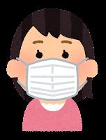 マスクを付けた人のイラスト(アジア人女性)