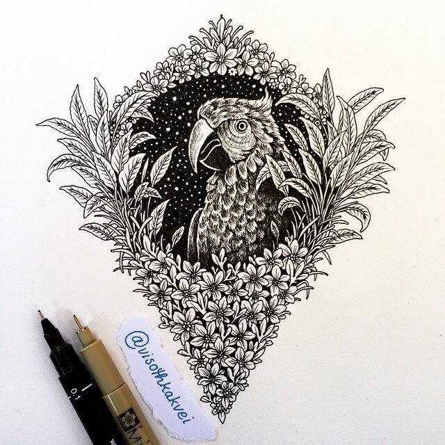 09-Parrot-Visoth-Kakvei-visothkakvei-Intricate-and-Ornate-Black-and-White-Drawings-www-designstack-co