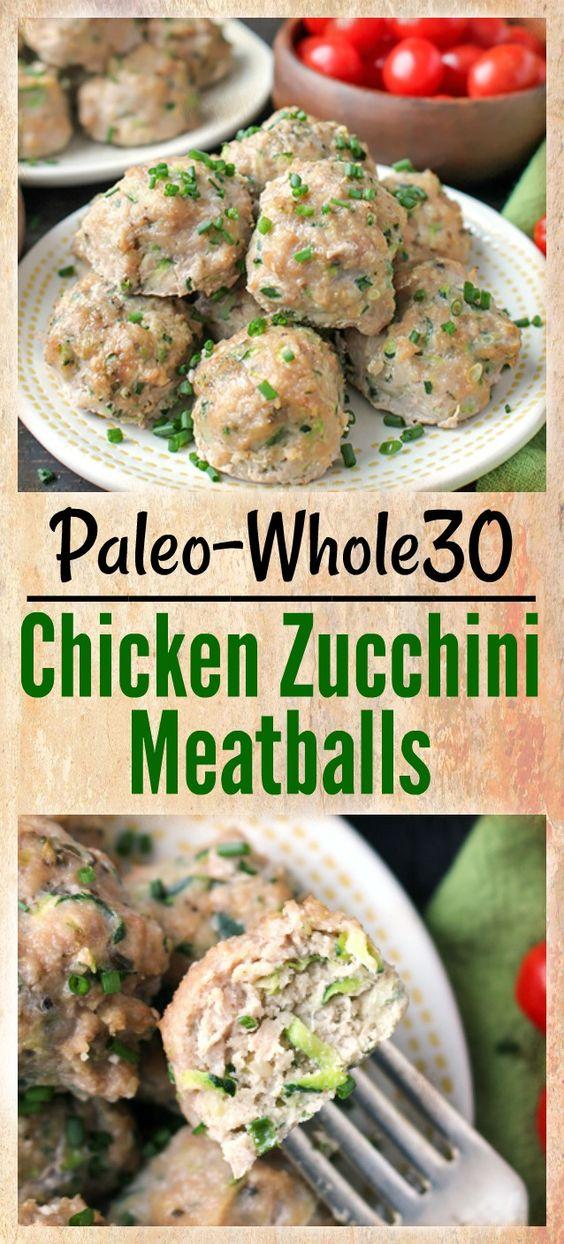 KETO,Paleo Whole30 Chicken Zucchini Meatballs