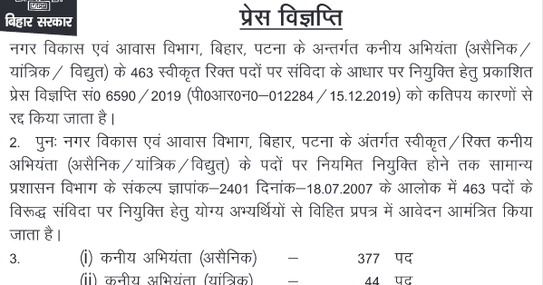 Bihar UDHD Junior Engineer Recruitment 2019