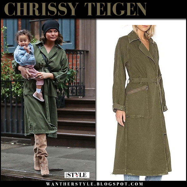 Chrissy Teigen in army green trench coat grlfrnd street fashion february 21