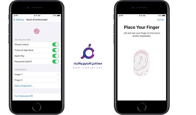 خطوات تفعيل وضبط اعدادات Face ID و Touch ID :