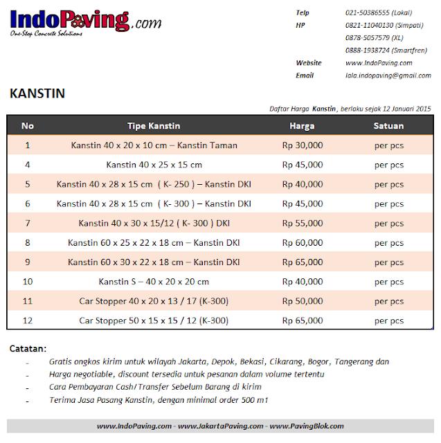 Daftar harga jual pabrik kanstin / kanstein / kerbs - http://www.indopaving.com