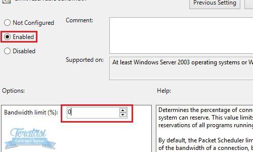 Mengatur Bandwidth Limit Windows 8 menjadi 100% agar kecepatan internet meningkat