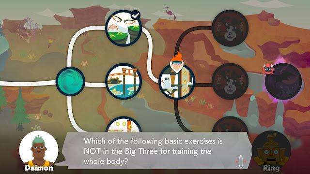 Ring Fit Adventure Quizton World 15 Daimon basic exercises big three train whole body question