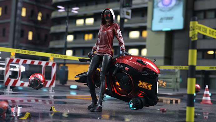 Cyberpunk Detective with Hoverbike by LCFRVSJSS