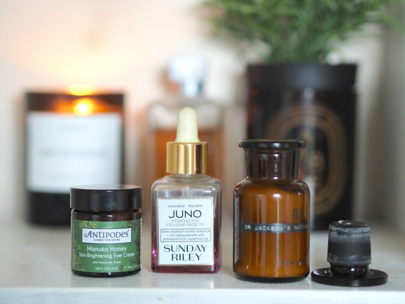 antipodes manuka eye brightening cream, organic eye cream, sunday riley juno face oil, dr jackson 02 skin cream