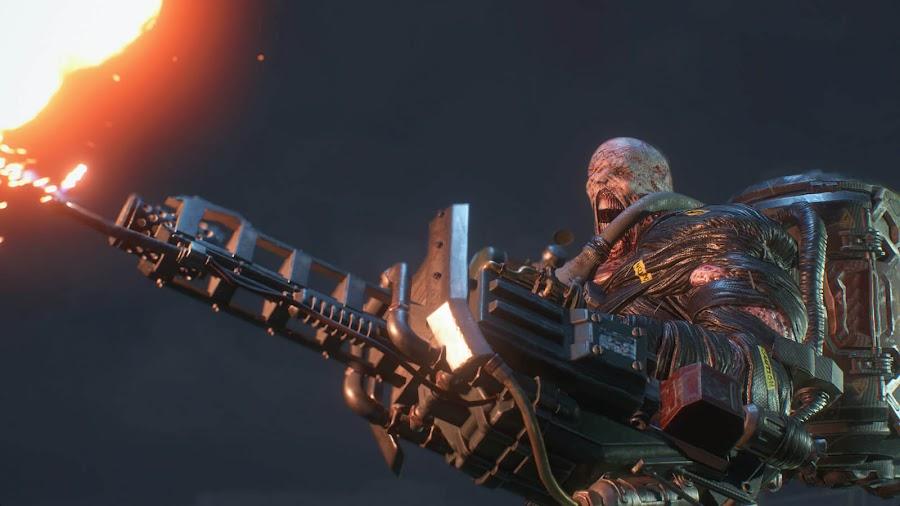 resident evil 3 remake screenshot image mounted flamethrower nemesis