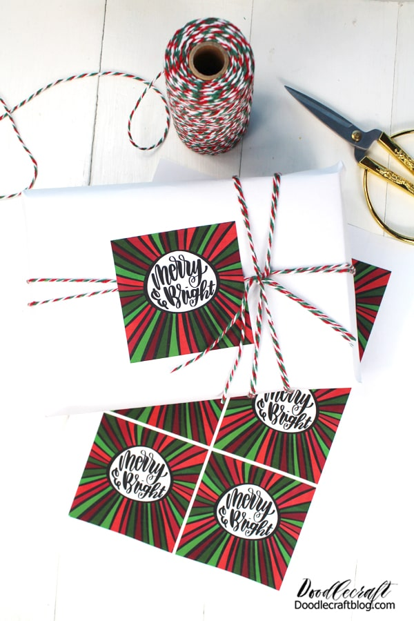 Make Vinyl Tag Stickers for Gifts with Cricut! May your days be Merry and Bright--and may all your Christmases be white! Use Cricut Printable Vinyl sticker sheets for the perfect holiday gift tags. These cute tags work great on happy mail, packages and gifts that regular tags would tear off of.   They are the perfect addition to any gift. Customize them with a family picture, a hand written note...or use my Merry & Bright design! Wrap a gift with twine and stick a vinyl sticker tag to it for the finishing touch.