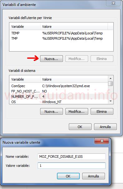Finestra Variabili di ambiente per creare nuova variabile per bloccare multiprocessi Firefox
