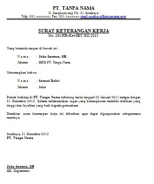 Contoh Surat Keterangan Kerja Karyawan Cara Buat Surat