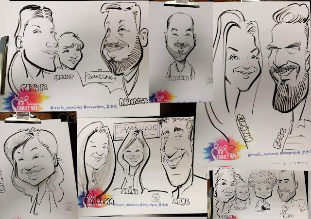 """Εταιρικό πάρτυ, με καρικατούρες, μικρών και μεγάλων μια ευκαιρία για σύσφιξη των οικογενειακών και συναδελφικών σχέσεων - δυνατές """"γέφυρες"""" με χαμόγελα! Η ομάδα έγινε δυνατότερη!!! Caricatures event, Εταιρική εκδήλωση για το προσωπικό με καρικατούρες Εκδηλώσεις καρικατούρας, samsung , live caricatures soter skitso"""