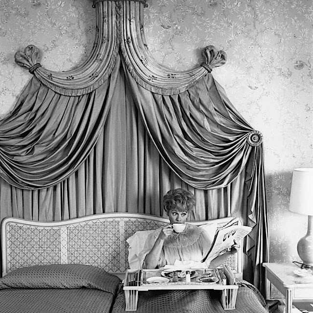 Lucille Ball at breakfast, a 1955 staged photograph