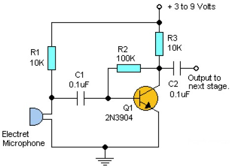 Simple Pre-Amp with One Transistor « Audio Circuit