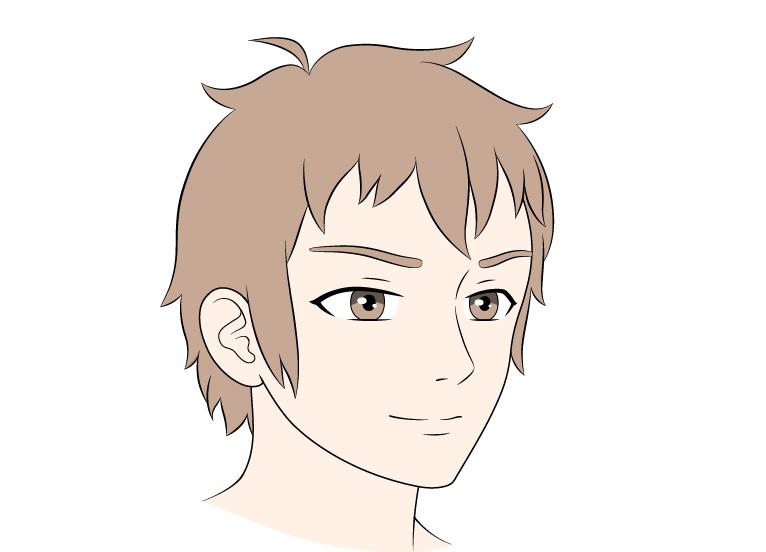 Anime pria wajah 3/4 tampilan mewarnai