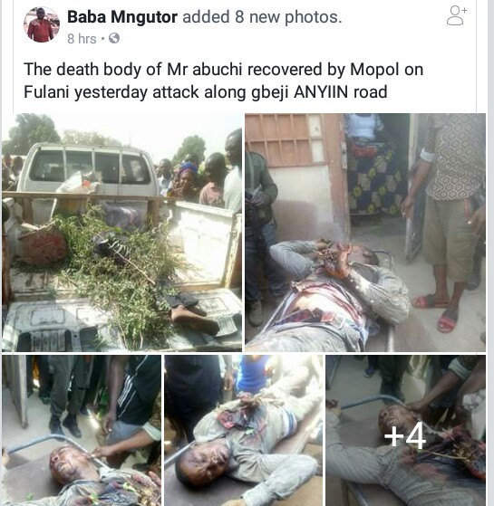 Photos: Mobile policemen recover body of Igbo trader allegedly killed by suspected herdsmen along Anyiin road, Benue State