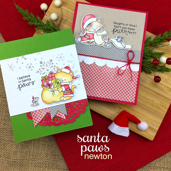 Santa Cat Christmas Cards by Jennifer Jackson | Santa Paws Newton Stamp Set by Newton's Nook Designs #newtonsnook #handmade
