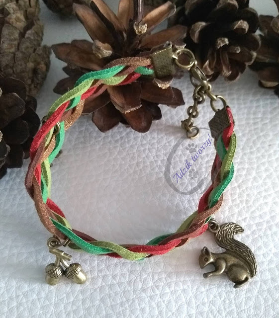 "Pleciona bransoletka handmade ""Jesienny las"""