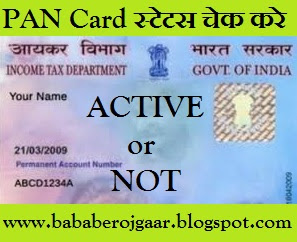 "PAN Card के बारे में पता करें - Check your PAN Card Status ""Active or Not"""