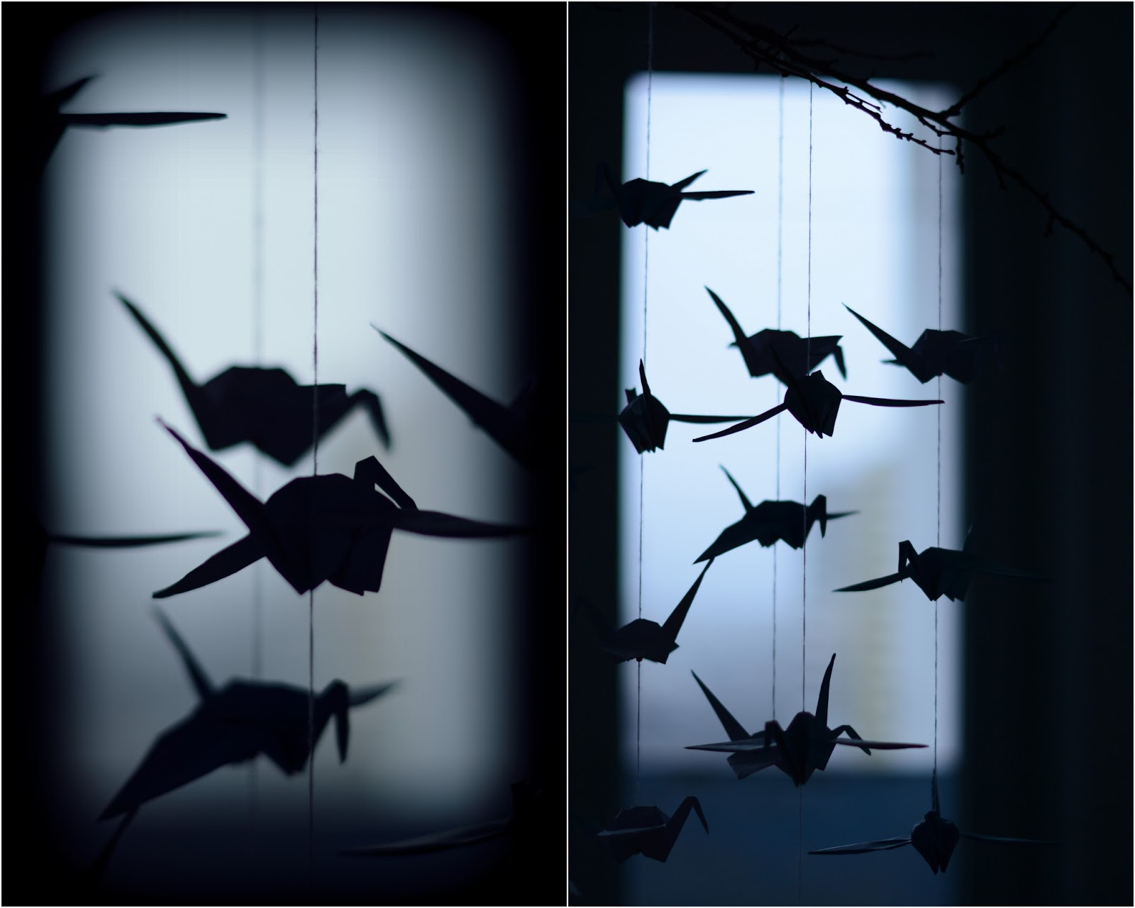 Origami paper cranes photograph, dark, monochromatic background, silhouette of birds