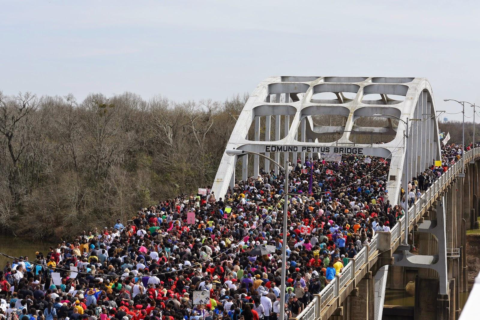 Marching across the bridge in 2015