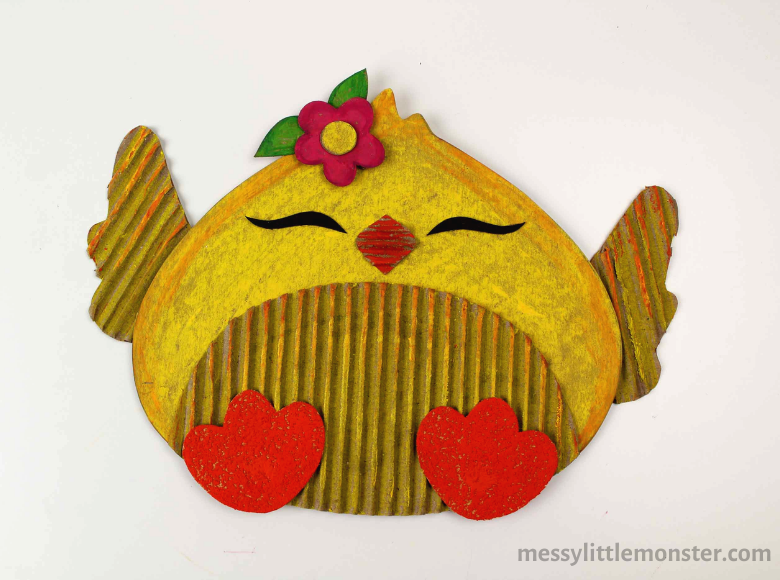 cardboard chick craft with chick template