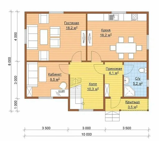 House plan 80 sqm with additional public rooms