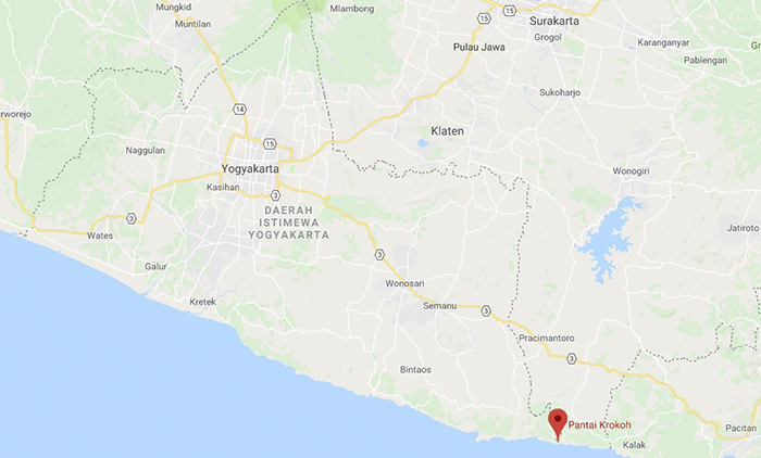 Letak Pantai Krokoh dari Yogyakarta dan Surakarta