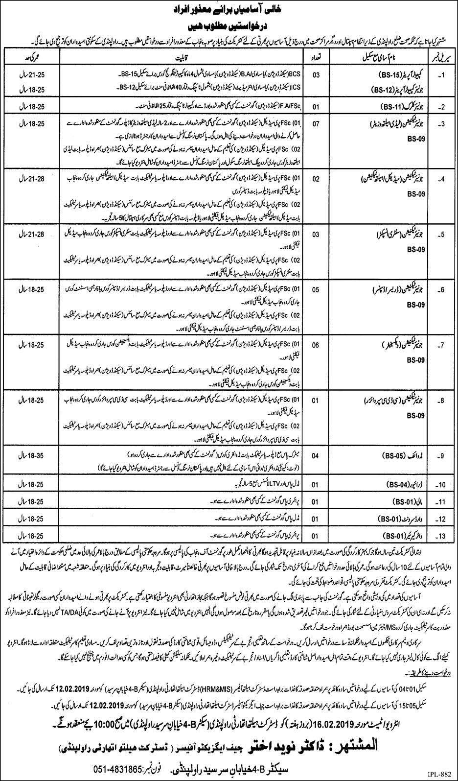 36 Jobs in Health Department District Rawalpindi