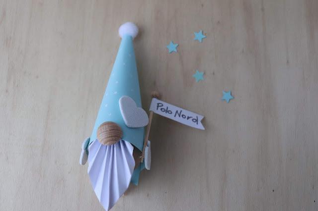 Simpatico gnomo di carta fai da te per Natale