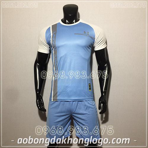 Áo bóng đá ko logo Under màu xanh ngọc