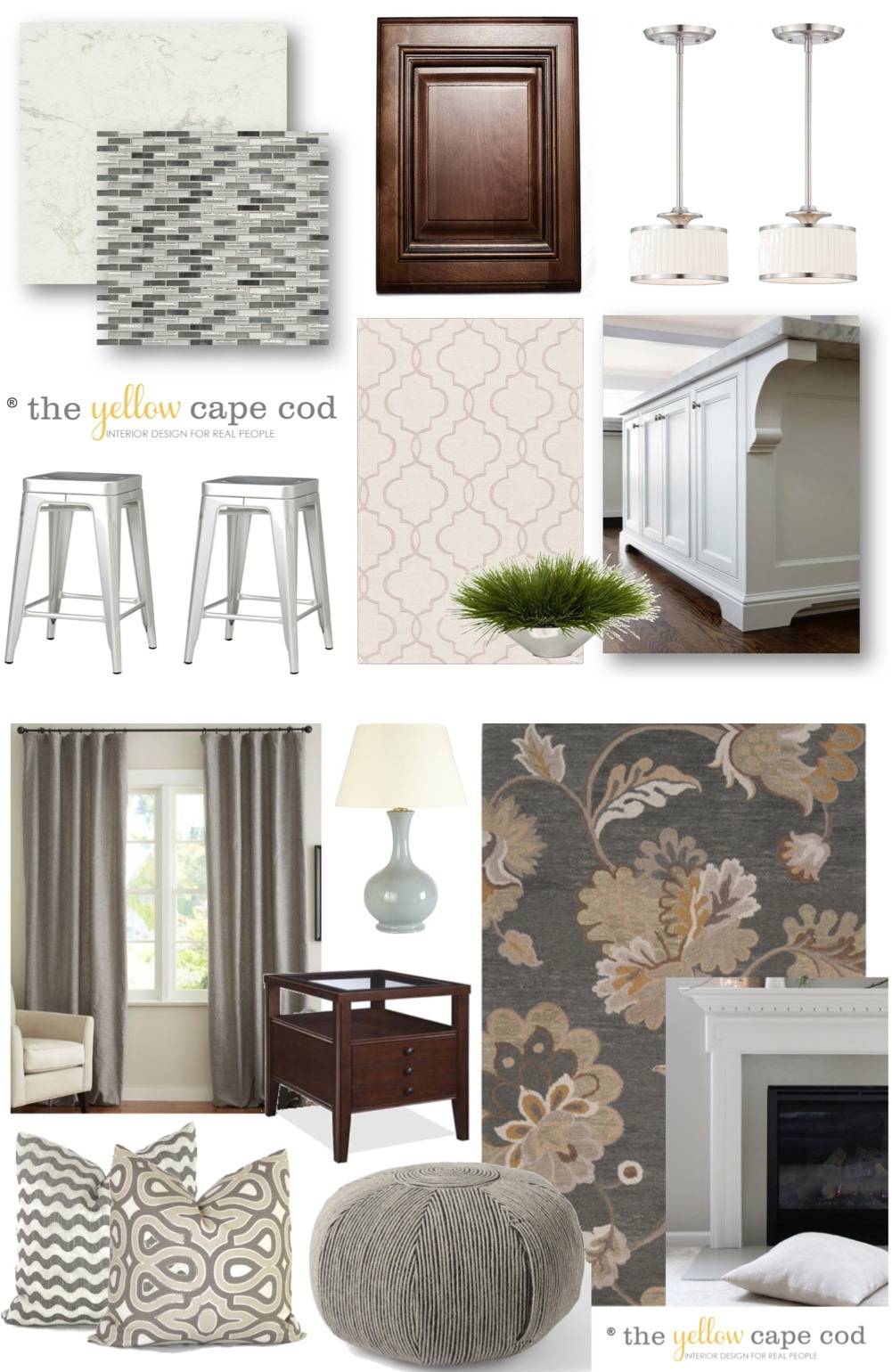 The Yellow Cape Cod My Home Office Dining Room: The Yellow Cape Cod: Gray/Tan Transitional Style Multiroom