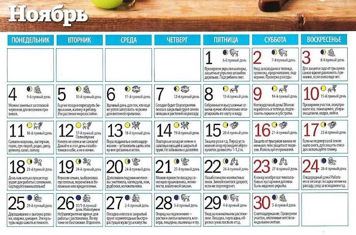 Подробный лунный календарь на ноябрь 2019 года