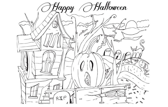 Printable Happy Halloween 2017 coloring pages for Kids Adults