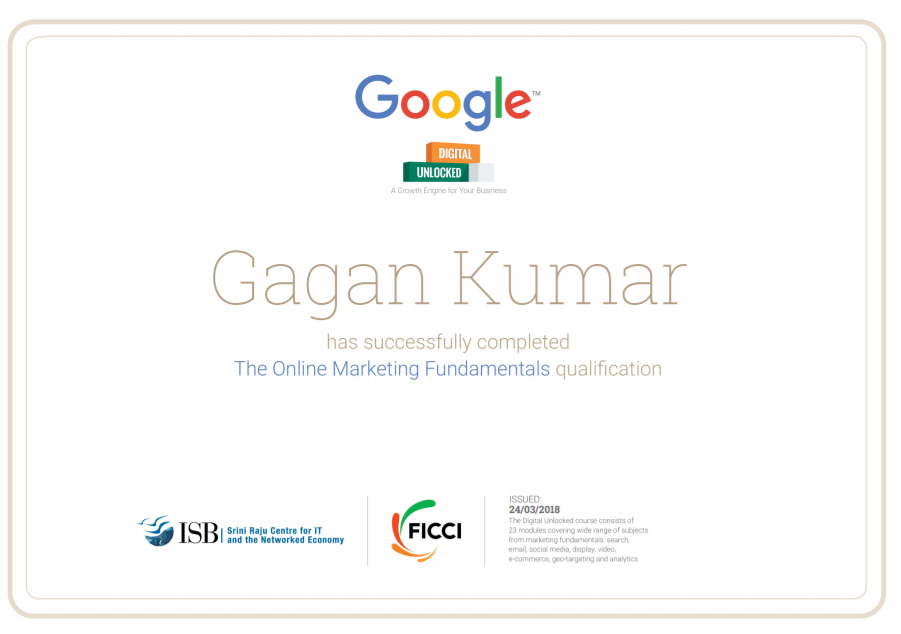 Certificate By Google -- Gagan Kumar