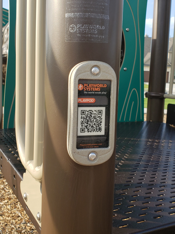 Playworld Systems PlayPod Playground QR-Code used to report equipment damage