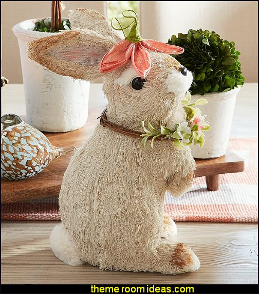 Hop Town Coral Floral Hat Bunny easter table decorations bunny rabbit figurine