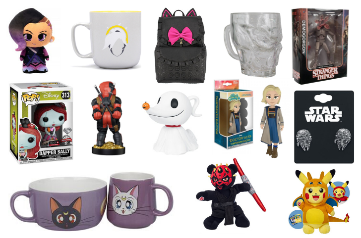 This is an image of various nerdy gift ideas including a Mercy from Overwatch Mug, a Darth Maul plush teddy bear and a Call Of Duty skull drinking glass.