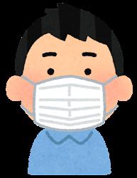 不織布マスクをつけた人のイラスト(男性)