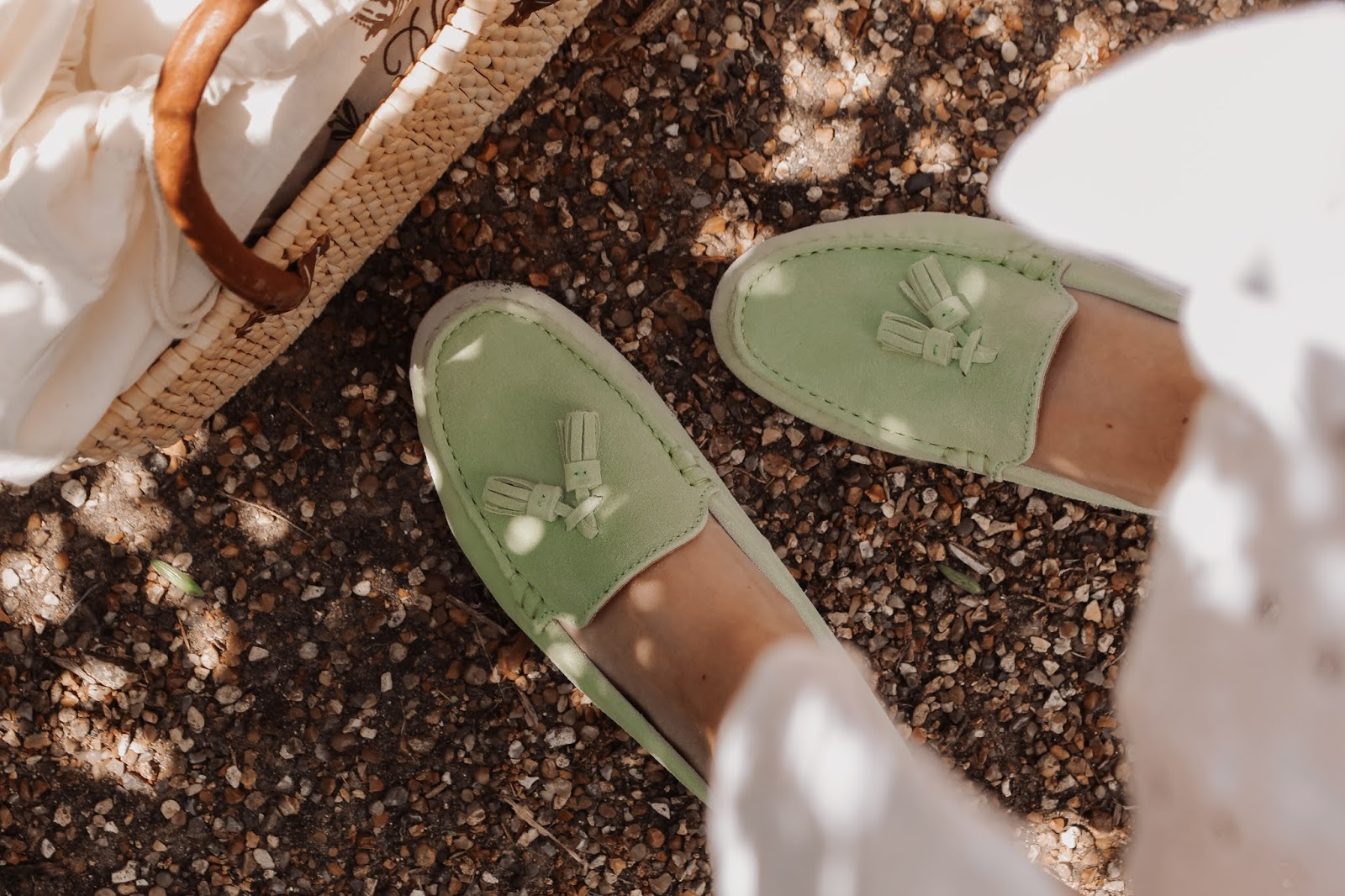 Hugs & Co Pistachio Green Driving Tassel Loafers