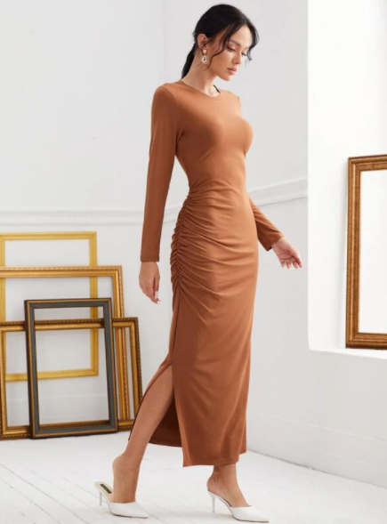 Camel Brown ruched dress