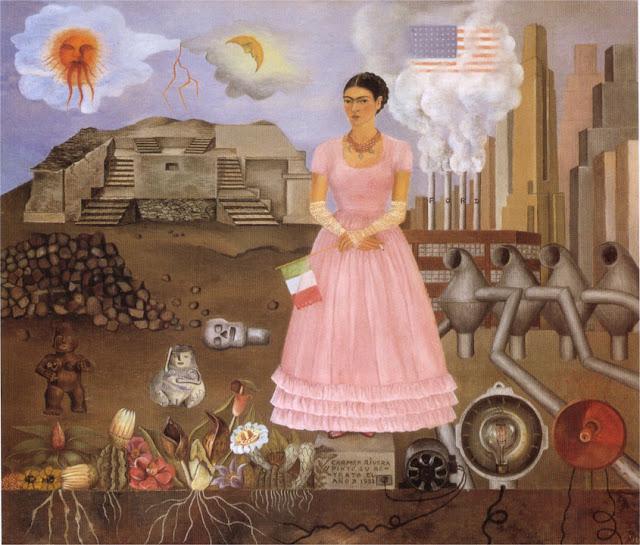 Фрида Кало - Автопортрет на границе между Мексикой и Соединенными Штатами. 1932