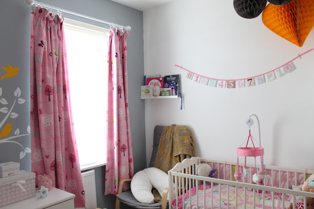 white grey pink and yellow baby girl bedroom