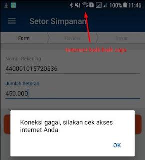 Cara mengatasi koneksi gagal, silahkan cek akses internet Anda Aplikasi BRILink Mobile